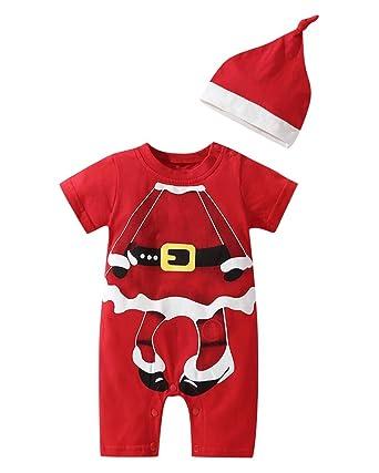 Le SSara Niños Niñas Navidad Papá Noel Ropa para bebés Mono Romper con Sombrero