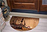3D Semicircle Floor Stickers Personalized Floor Wall Sticker Decals,Style Country Music Guitar Cowboy