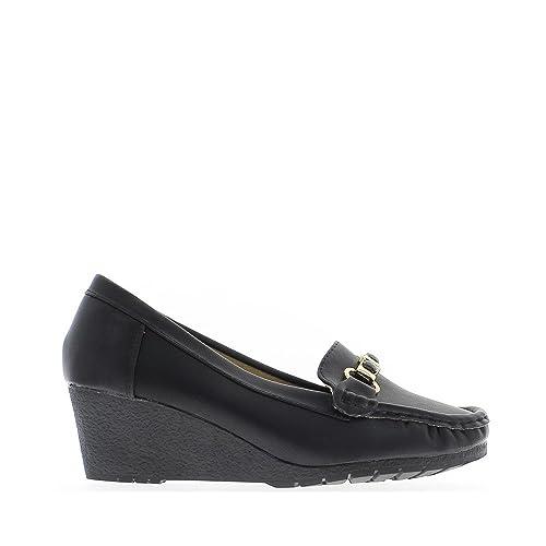 Mocasines negros tacos de 9,5 cm y el altiplano de 1.5cm barette - 41: Amazon.es: Zapatos y complementos