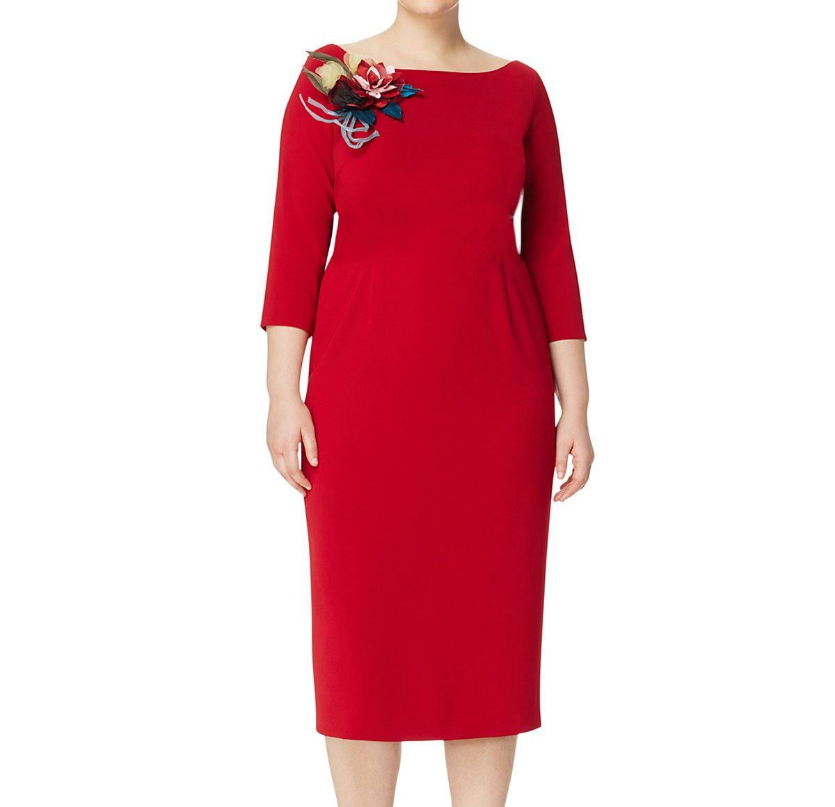 Marina Rinaldi Women's Daisy Sheath Dress W/Brooch, Red, 16W/25