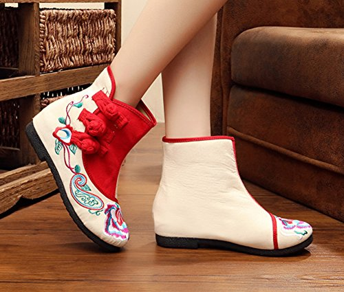 Embroideried Rubber Beige Increase Sole Womens Casual AvaCostume Booties 6w0t45Sqyx