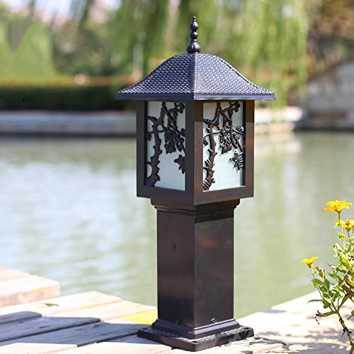 (CGJDZMD Outdoor Waterproof Pillar Post Lights European Series Glass Lantern Aluminum E27 Villa Patio Decoration Lighting Fixture Garage Backyard Gazebo Balcony Column Lights)