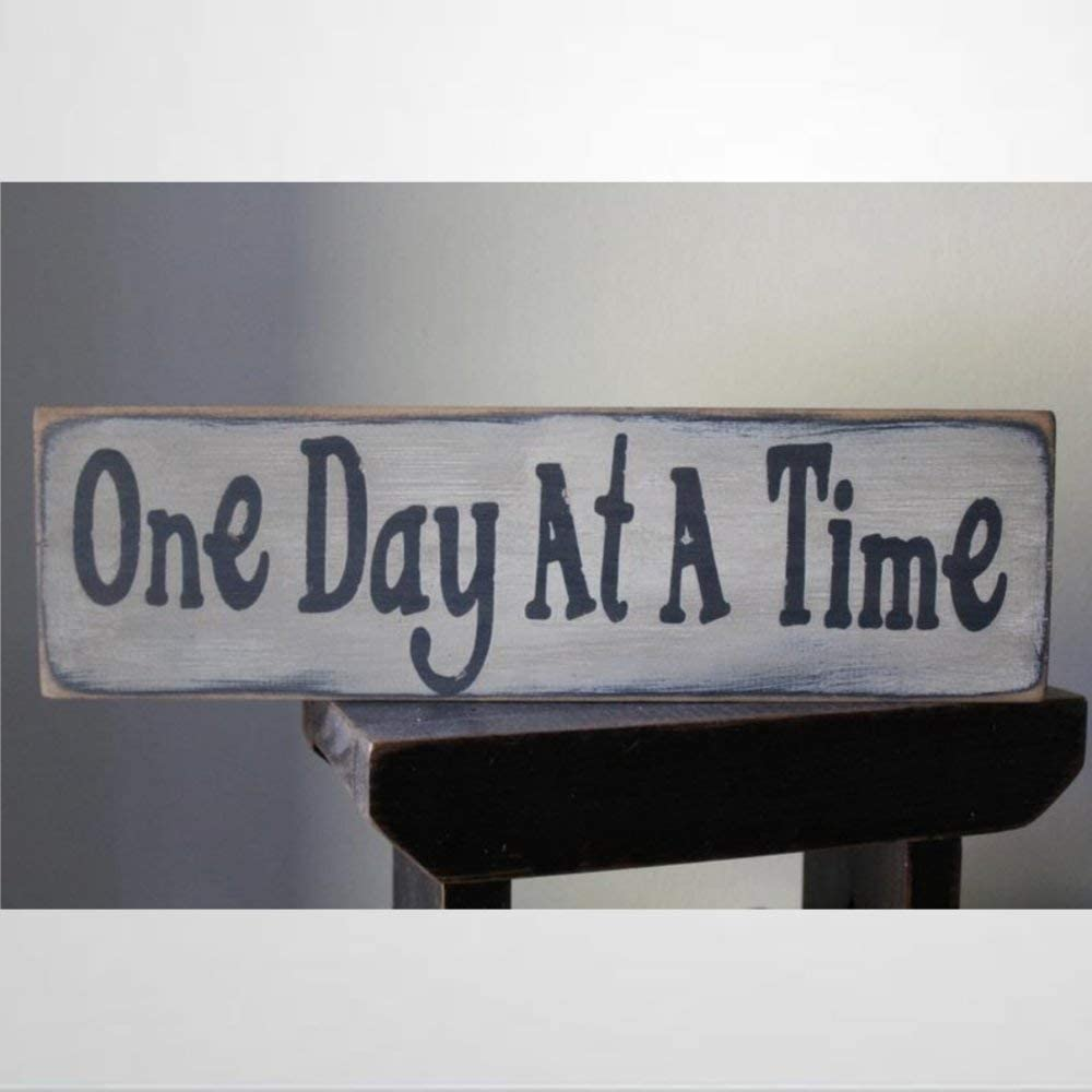 BYRON HOYLE Wooden Sign One Day at A Time Wood Message Sign,Tier Tray, Marriage Sign, Love Wood Plaque Wall Art Funny Wood Sign Wall Hanger Home Decor