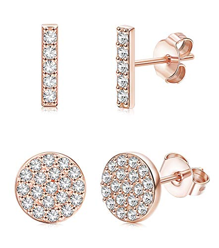 Silver Sterling Setting Pave (FUNRUN JEWELRY 2 Pairs Sterling Silver Disco Pave&Mini Bar Stud Earrings for Women Girls Cubic zirconia Circle Earrings Line Stick (B: Rose Gold Plated))