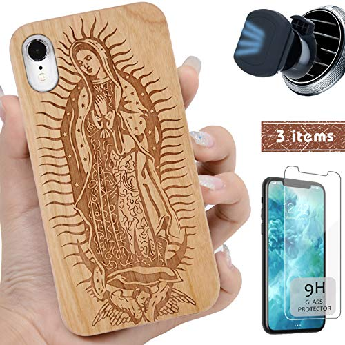 iProductsUS Wood Phone Case Compatible with iPhone XR,Magnetic Mount and Screen Protector-Engrave Virgin Mary Cases,Compatible Wireless Charger,Built-in Metal Plate,TPU Shockproof Cover (6.1