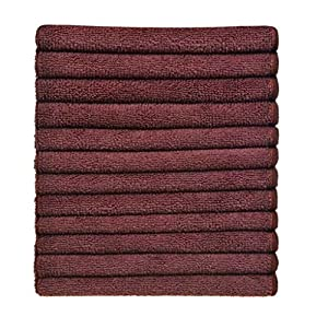 Simplife wholesale 12 Pack Microfiber Cleaning Cloths Streak Free Microfiber Dish Cloths Kitchen Towels Cloths Washcloths Rags 12Inchx12Inch (Brown)