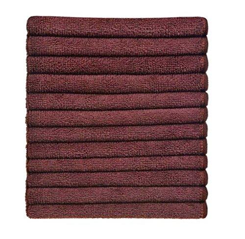 Simplife wholesale 12 Pack Microfiber Cleaning Cloths Streak Free Microfiber Dish Cloths Kitchen Towels Cloths Washcloths Rags 12Inchx12Inch (Brown)