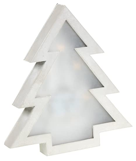 Wooden Christmas Tree Wall Hanging Decoration With Diffused Led Lighting Classic Silver Christmas Theme Premium Wooden Design Measures 8 75 X