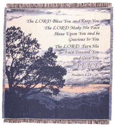 """Lord Bless You"" Bible Verse Numbers 6:24-26 Afghan Throw Blanket 48"" x 60"""