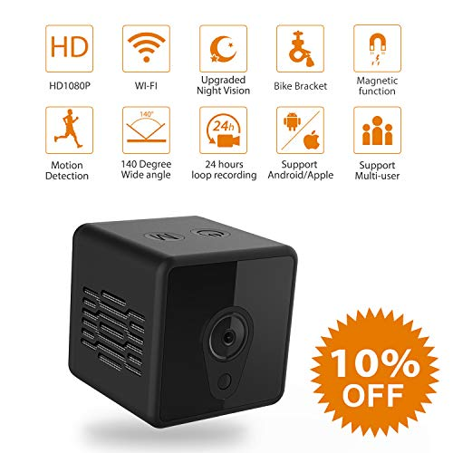 Mini Spy Camera WiFi, Jayol 1080P Spy Hidden Camera Upgraded Night Vision and Motion Detection Spy Cam, Portable Nanny Camera for Home/Office Security and Outdoor (with Cell Phone App) (Mini Camera) ()