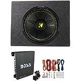 Kicker Comps 500W Subwoofer + Q Power Truck Enclosure + Boss 1100W A/B Amplifier