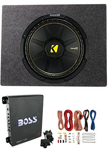 Kicker Comps 500W Subwoofer + Q Power Truck Enclosure + Boss 1100W A/B Amplifier