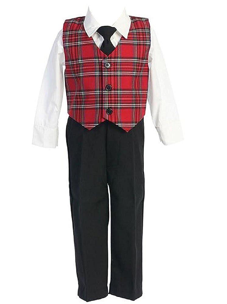 iGirldress Little Boys Red Green Black Plaid Christmas Vest Pants/Knicker Set Infant to Boys