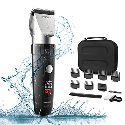 WONER HC826B Waterproof Cordless Hair Clippers for Men, Hair Trimmers, Hair Cutting Kits for Gentlemen