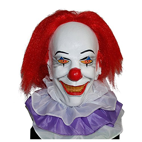 GnG Pennywise mask with with wig Creepy halloween Cosplay costume prop