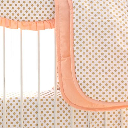 Coral and Metallic Gold Dots Baby Comforter Box Quilted