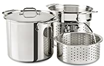 All-Clad E9078064 Stainless Steel Multicooker with Perforated Steel Insert and Steamer Basket, 8-Quart, Silver by All-Clad
