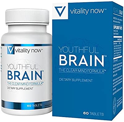 Memory & Brain Health Supplement - Youthful Brain - Doctor Formulated Brain Booster with Bacopa Monnieri - Ginkgo Biloba - B12 - Easy to Swallow Tablets - 30-Day Supply (60 Count)