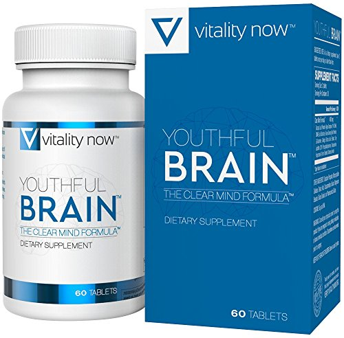 (Youthful Brain Memory & Brain Health Supplement - Doctor Formulated Brain Booster with Bacopa Monnieri, Ginkgo Biloba, B12 - Easy to Swallow Tablets - 30-Day Supply (60)