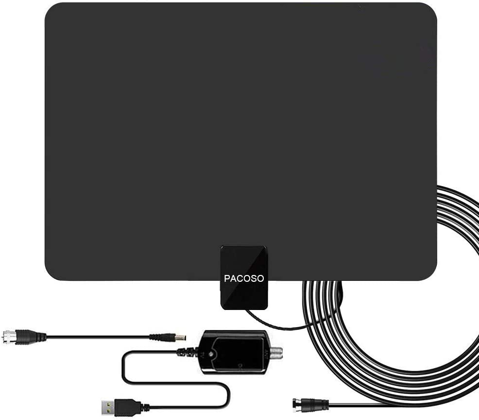 Digital Amplified TV Antenna 60-120 Mile Range Latest 2019 with Powerful Singal Booster Supports 4K 1080P Full HD for All TVs-13.2ft Long Coaxial Cable