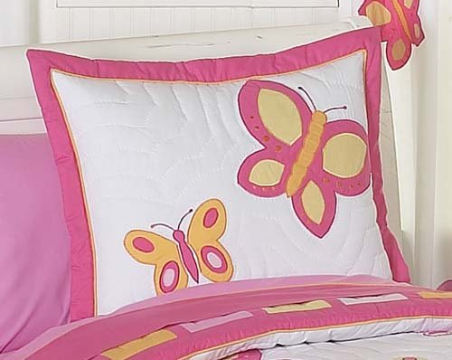 Sweet Jojo Designs 4-Piece Pink and Orange Butterfly Collection Children's Bedding Girls Twin Set