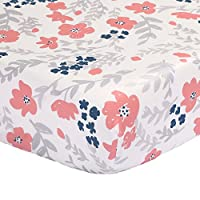 Floral Fitted Crib Sheet - Coral Pink and Navy Blue - 100% Cotton Sateen