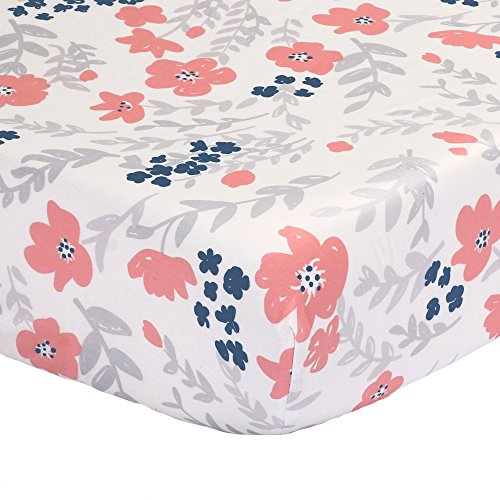 Floral Fitted Crib or Toddler Sheet - with Coral Pink, Grey and Navy Blue Flowers - 100% Cotton Baby Girl Nursery Bedding