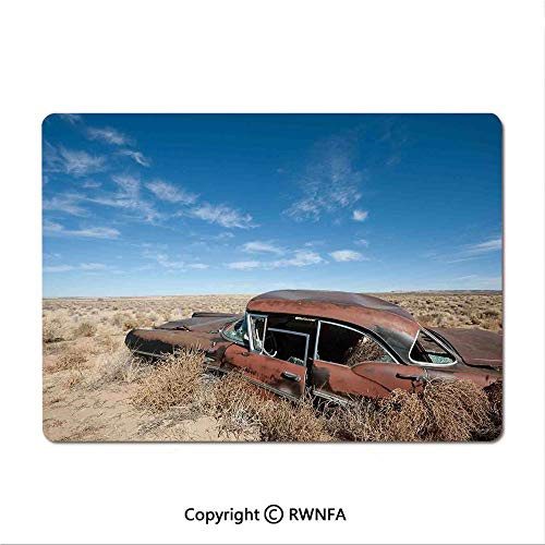 Gaming Mouse pad,Old Rusty Automobile in The Middle of New Mexico Bushes Ghost Town Vehicle Theme Print(9.8