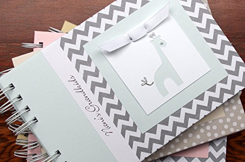 Handmade Personalized Baby Brag Book | Gray Chevron + Blue | 20 Designs