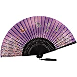 [Chinese & Japanese] Retro Silk Hand Fan Portable Folding Fan Handheld Fan NO.11