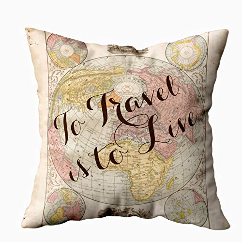 Capsceoll to travel is to live quote vintage map Decorative Throw Pillow Case 16X16Inch,Home Decoration Pillowcase Zippered Pillow Covers Cushion Cover with Words for Book Lover Worm Sofa Couch