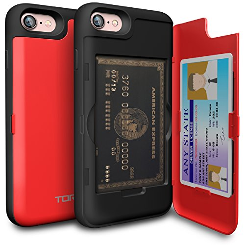 iPhone 7 Case, TORU [iPhone 7 Wallet Case Red] Dual Layer Hidden Credit Card Holder ID Slot Card Case with Mirror for iPhone 7 (2016) / iPhone 8 (2017) - Red