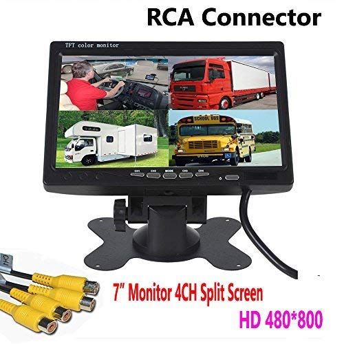 ZhanHongXiang 7 inch HD 4 Channels Quad Split Backup Monitor Screen Display RCA Video Inputs for Bus Truck Caravan Car Rear View Camera Kit - Monitor Color Lcd Quad 4