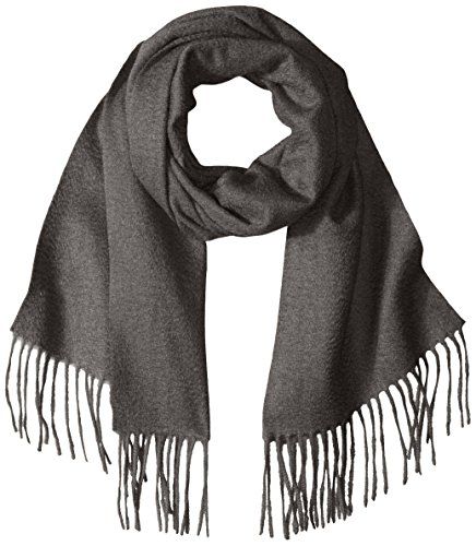 Sofia Cashmere Women's 100 Percent Cashmere Woven Scarf with Fringe, Derby Grey, One by Sofia Cashmere
