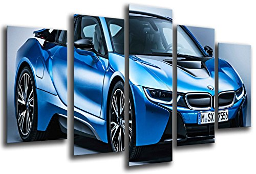 Multi Wood Printings Art Print Box Framed Picture Wall Hanging - (Total Size: 65 x 24.4 in), Sports Car, BMW i8, Blue - Framed and Ready to Hang - ref. 26551 ()