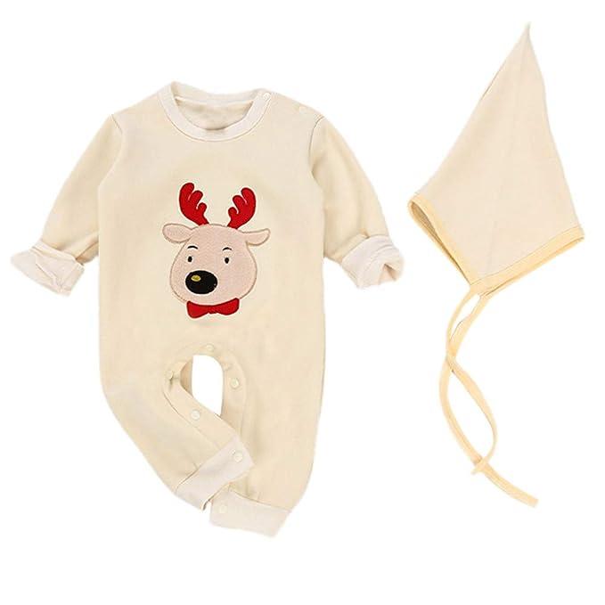 26b80fa9f Ropa Bebe Navidad Disfraz Recién Nacido Niño Niña Monos de Reno + Sombrero   Amazon.es  Ropa y accesorios