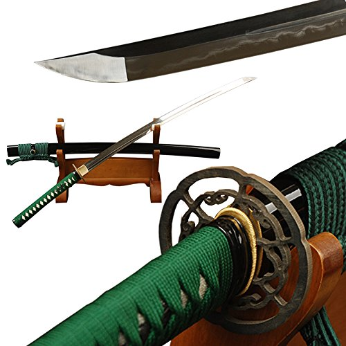- Green Ito & Sageo Unokubitsukuri Japanese Samurai Katana Sword Clay Tempered Folded Steel Full Tang Iron Tsuba