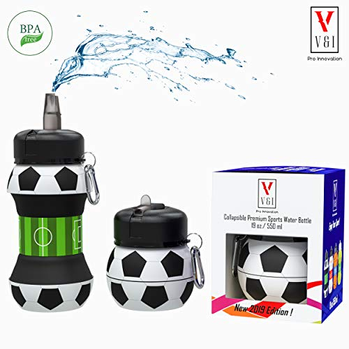 - Sports Water Bottle Kids Scout Team Soccer Ball Shaped Design 19 oz Leak Proof Reusable Squeezable Collapsible Carabiner Hook Wide Mouth Lid Yoga Gym Cup Special Gift Box