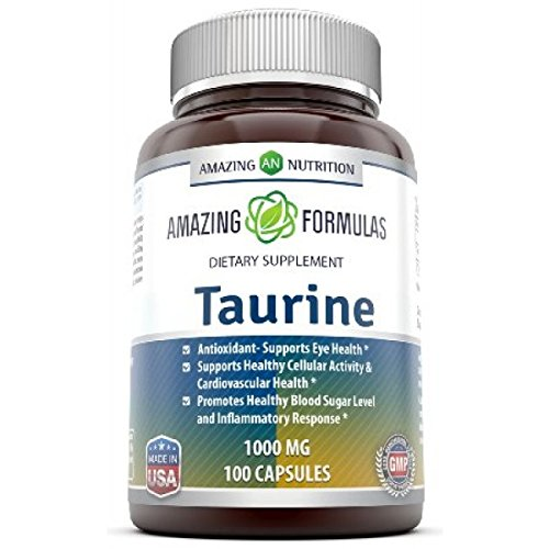 Antioxidant Cellular (Amazing Nutrition Amazing Formulas Taurine * 1000 mg Pure L Taurine Amino Acid Supplement * 100 Capsules* Potent Antioxidant * Supports Eye Health, Healthy Cellular Activity & Cardiovascular Health)
