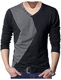 "<span class=""a-offscreen"">[Sponsored]</span>Men's Long Sleeve V Neck Color Block T-Shirt Top"