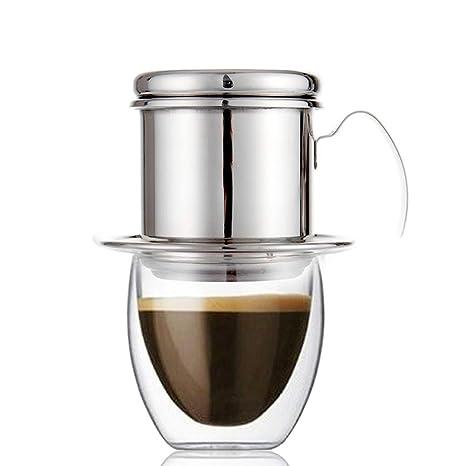 Echi Cafetera Pot, goteo de acero inoxidable cafetera eléctrica de goteo taza café vietnamita -