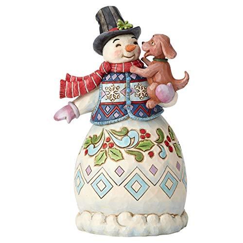 Enesco Jim Shore Heartwood Creek Snowman with Dog Figurine, 8.25 , Multicolor
