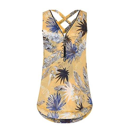 Clearance Women Zipper Sleeveless Tank Top Cross Loose Back Hem Layed V-Neck T Shirts Tops Feather Print Vest Top Women Fringed Openwork Top ()