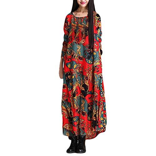da donna LandFox Cotone vestiti donna lunghe casual Vestito Manica e e Abito in estate a cotone lunga lunghi Elegante lungo Donna Lino Vestiti Sexy Rosso allentato lino maniche Zw6q50n