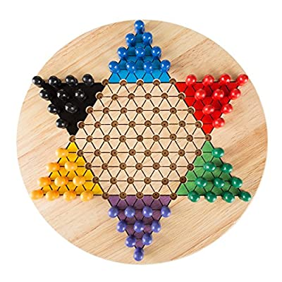 Chinese Checkers Game Set with 11 inch Wooden Board and Traditional Pegs, Game for Adults, Boys and Girls by Hey! Play!