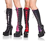 5 Inch Sexy Evening Boot Stack Heel w/ 1 1/2 Inch Platform Boots Black Patent With 4 Interchangeable Tongues