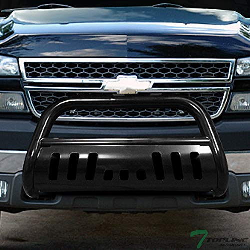 Topline Autopart Black Bull Bar Brush Push Front Bumper Grill Grille Guard With Skid Plate For 99-07 Chevy Silverado / 00-06 Suburban ; 99-07 GMC Sierra / 00-06 Yukon 2500 HD / 3500 ()