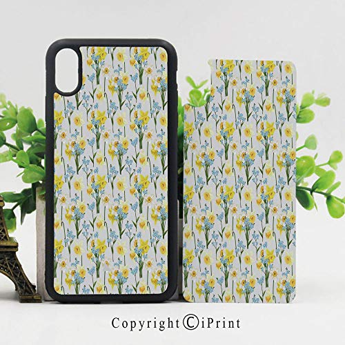 iPhone x Case,Forget Me Not Flowers and Daffodil Blossom Leaf Bouquet Spring Garden Art Print Sturdy Non-Slip Case Lightweight Shell Protective for iPhone X,Yellow Blue Green