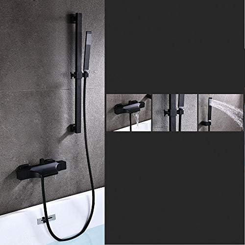 浴槽の蛇口、 バスタブ蛇口付ハンドシャワーウォールマウント滝スパウトタブブラッシュニッケルブラック 掃除とメンテナンスが簡単 (Color : Black b, Size : Free size)