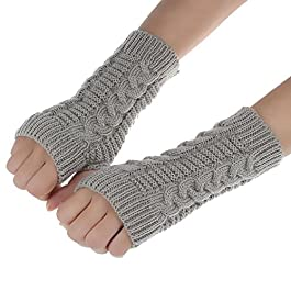 Tonsee® Fashion Knitted Arm Fingerless Winter Gloves Unisex Soft Warm Mitten